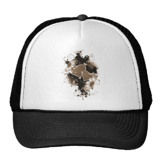 Double Hearts Flowers - Sepia Brown Mesh Hat