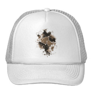 Double Hearts Flowers - Sepia Brown Hat