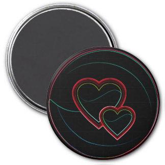 Double Hearts In Black Fridge Magnets