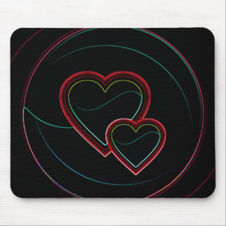 Double Hearts In Black Mousepads