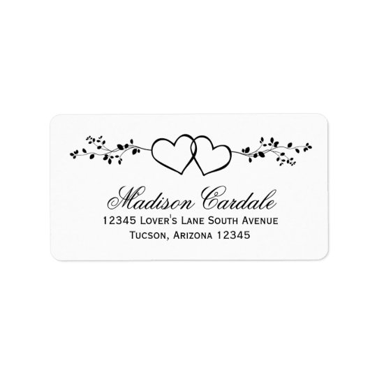 Double Hearts Personalised Wedding Address Labels
