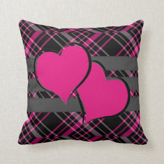 Double Hearts & Pink Plaids Throw Cushions
