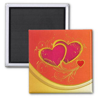 Double Hearts Square Magnet