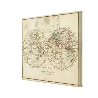 Double hemisphere map canvas print