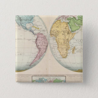 Double Hemisphere Map of the Climate 15 Cm Square Badge