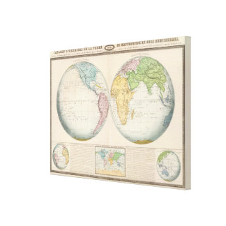 Double Hemisphere Map of the Climate Canvas Print