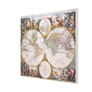 Double Hemisphere Polar Map Canvas Print