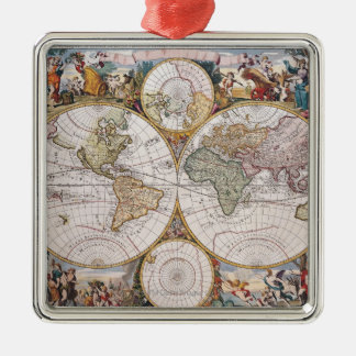 Double Hemisphere Polar Map Christmas Ornament