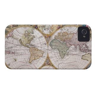 Double Hemisphere Polar Map iPhone 4 Case-Mate Case
