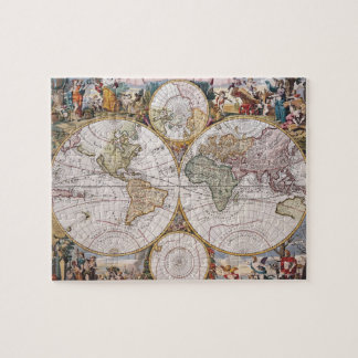 Double Hemisphere Polar Map Jigsaw Puzzle