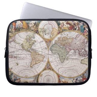 Double Hemisphere Polar Map Laptop Sleeves