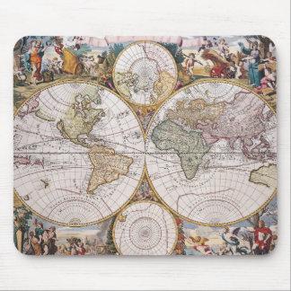 Double Hemisphere Polar Map Mouse Pad
