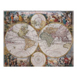 Double Hemisphere Polar Map Poster