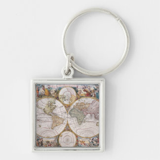 Double Hemisphere Polar Map Silver-Colored Square Key Ring