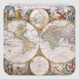 Double Hemisphere Polar Map Square Sticker