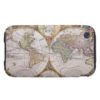Double Hemisphere Polar Map Tough iPhone 3 Cover