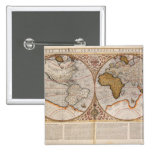 Double Hemisphere World Map, 1587 15 Cm Square Badge