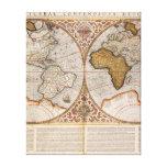 Double Hemisphere World Map, 1587 Canvas Print