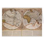 Double Hemisphere World Map, 1587 Greeting Card
