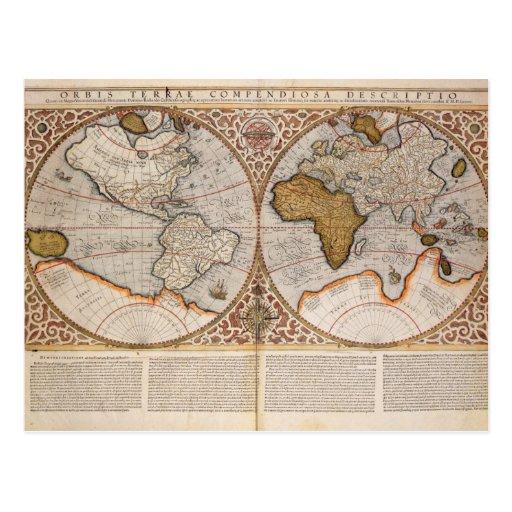 Double Hemisphere World Map, 1587 Postcard