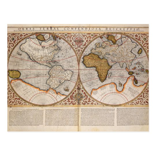 Double Hemisphere World Map, 1587 Postcard