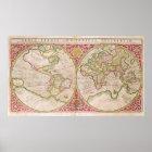Double Hemisphere World Map, 1587 Poster
