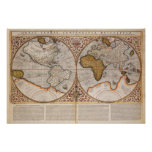 Double Hemisphere World Map, 1587 Poster