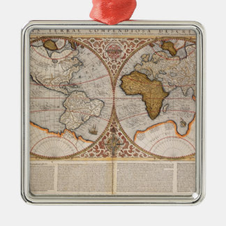 Double Hemisphere World Map, 1587 Silver-Colored Square Decoration