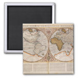 Double Hemisphere World Map, 1587 Square Magnet