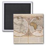 Double Hemisphere World Map, 1587 Square Magnet