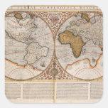 Double Hemisphere World Map, 1587 Square Sticker
