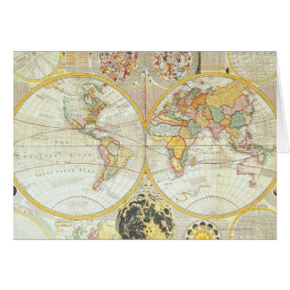 Double Hemisphere World Map Card