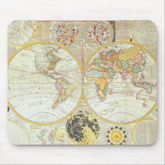 Double Hemisphere World Map Mouse Pad