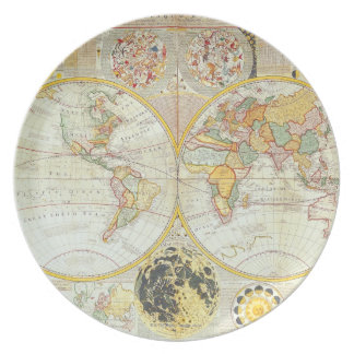 Double Hemisphere World Map Plate