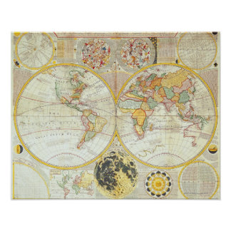 Double Hemisphere World Map Poster
