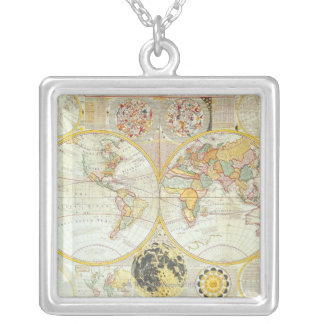Double Hemisphere World Map Silver Plated Necklace