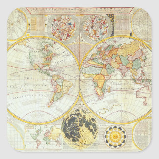 Double Hemisphere World Map Square Sticker