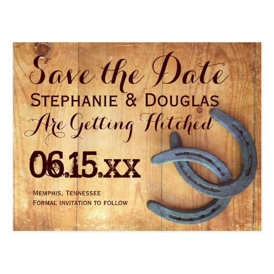 Double Horseshoe Rustic Save the Date Postcards