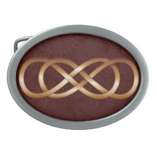 Double Infinity Bronze on Deep Red- Belt Buckle-2 Belt Buckles