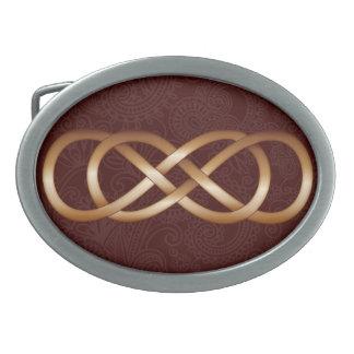 Double Infinity Bronze on Deep Red- Belt Buckle-2 Belt Buckles