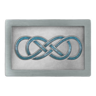 Double Infinity Cloisonne' Marbled Aqua 2 - Buckle Rectangular Belt Buckle