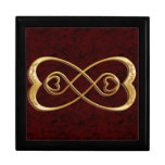 Double Infinity Gold Hearts - Red Marble Design Large Square Gift Box