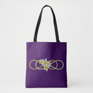 Double Infinity gold silver Frangipani Tote Bag