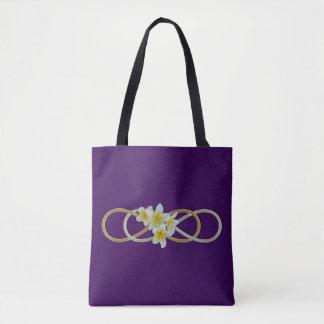 Double Infinity gold silver Frangipani Tote Bag