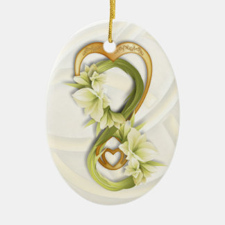 Double Infinity in Gold Heart & Cowlilies - 1 Ceramic Oval Decoration