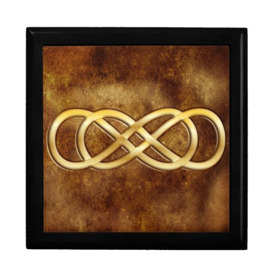 Double Infinity in Gold on Brown Leather Design