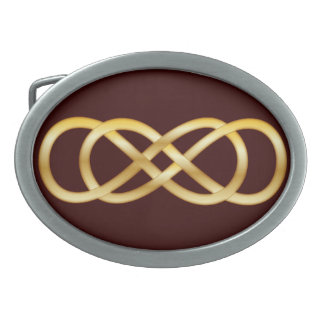 Double Infinity in Gold on Deep Red - Belt Buckle