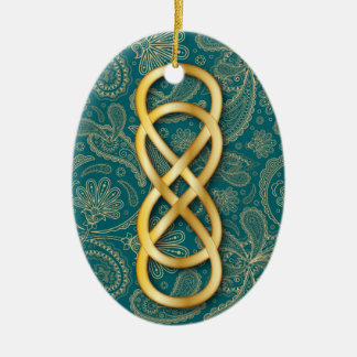 Double Infinity in Gold on Teal & Paisley Christmas Tree Ornaments