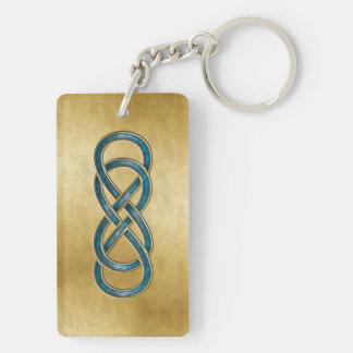Double Infinity Marbled Aqua - Key Chain