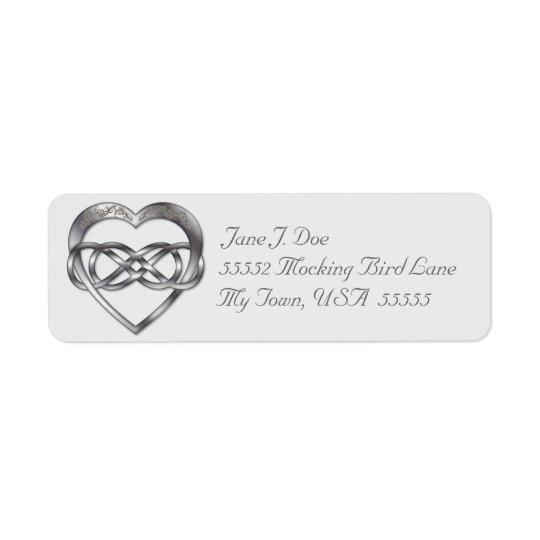 Double Infinity Silver Heart 4 - Address Label